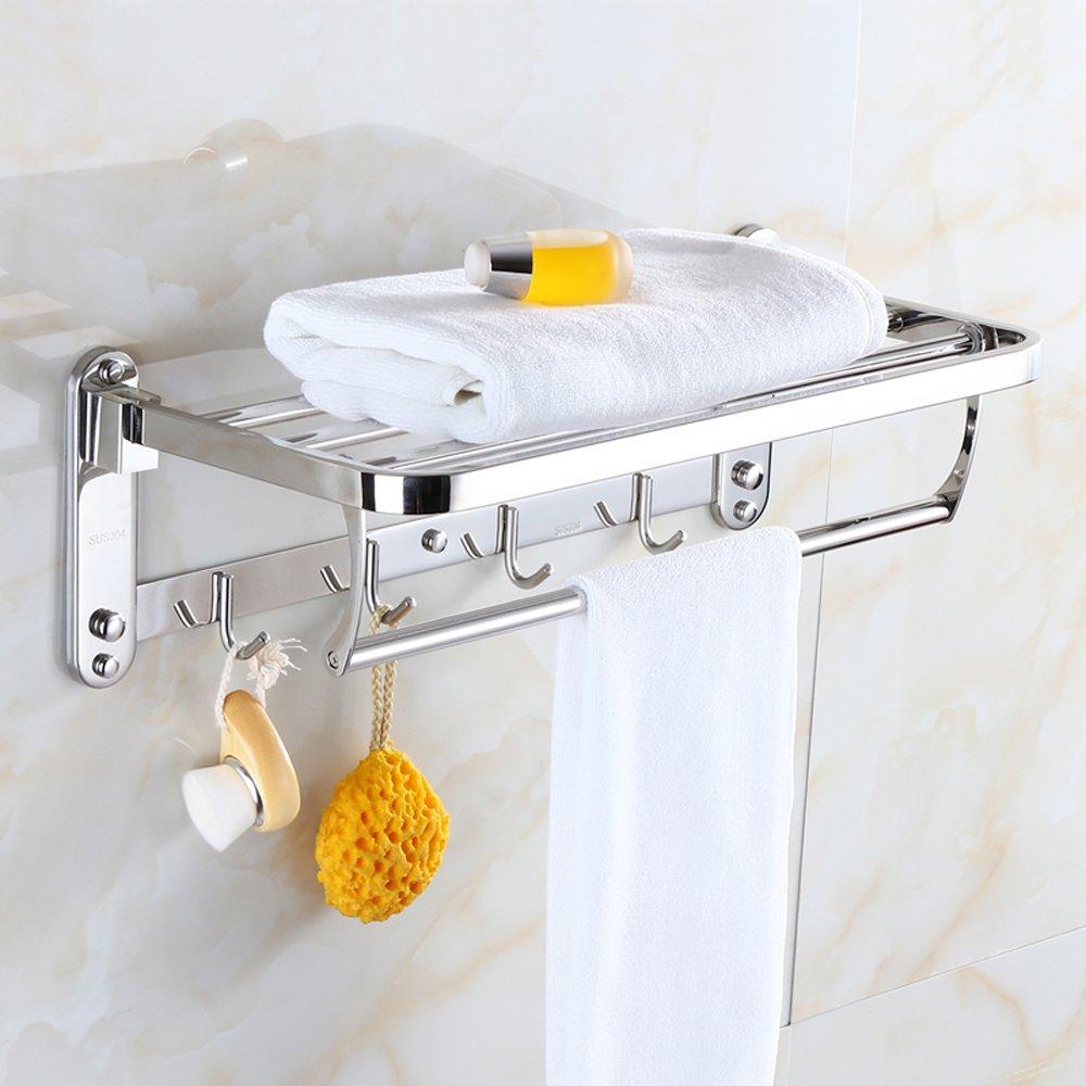 Dosenstek Premium Stainless Steel Wall Mounted Bathroom Towel Rack Towel Shelf Towel Holder Hotel Rail Shelf Storage Holder with 5 Hooks