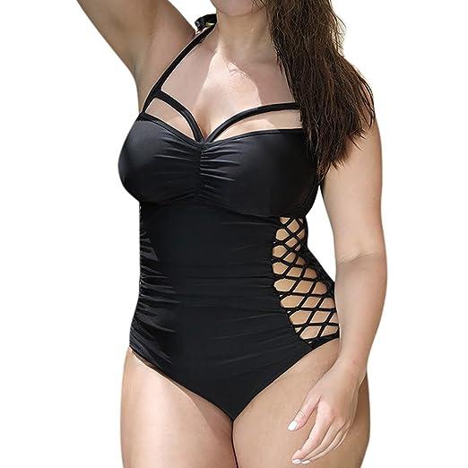 a3b8441f0eb Handyulong Women Monokini Swimsuits Plus Size Sexy Padded Push up Tummy  Control Hollow Out Swimwear Beachwear