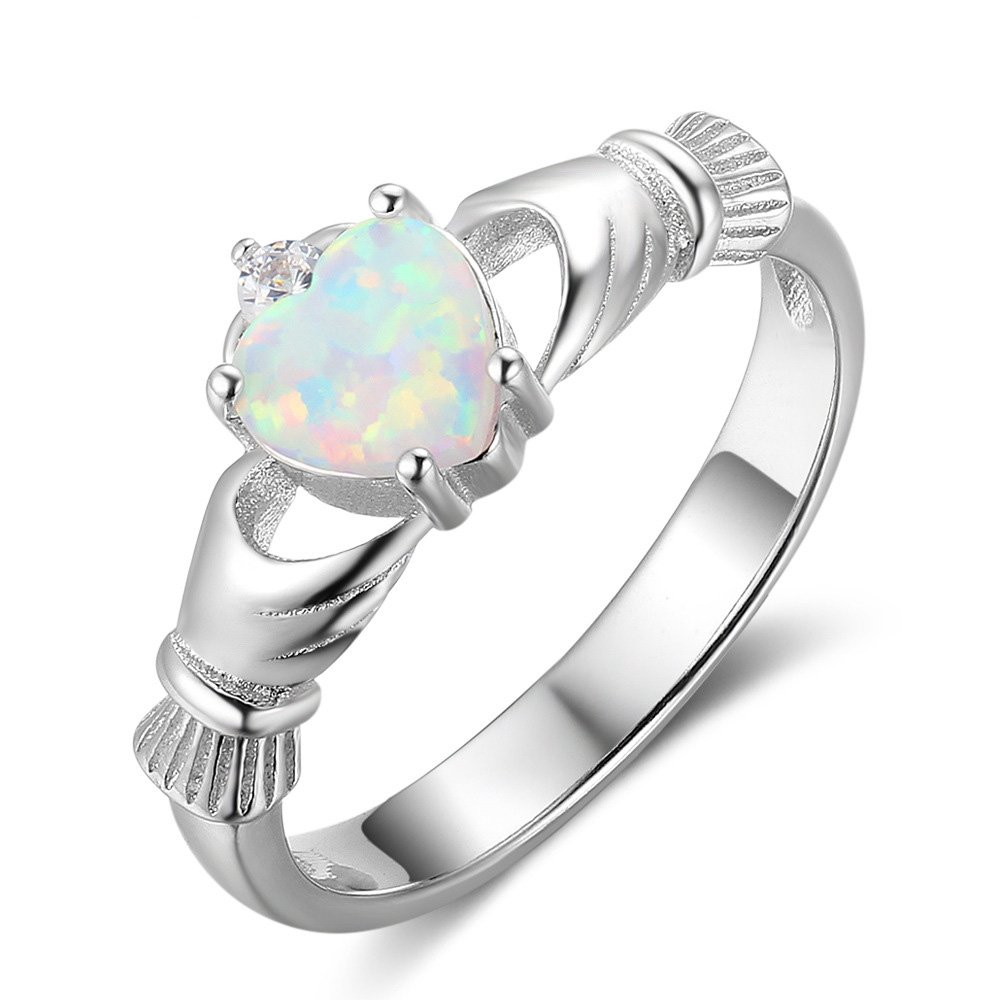 ACEFEEL Sterling Silver Claddagh Heart White Opal Simulated Gemstone Promise &Women's Friendship Ring 1ACE-0A-OI1R1009-UO21F