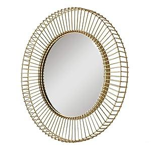 Miroirs Mural Salon Suspendu Salle de Bain de courtoisie en Fer forgé Tenture Murale Ronde Or Stickers muraux Suspendu (Color : Gold, Size : 72.8 * 72.8 * 7cm)