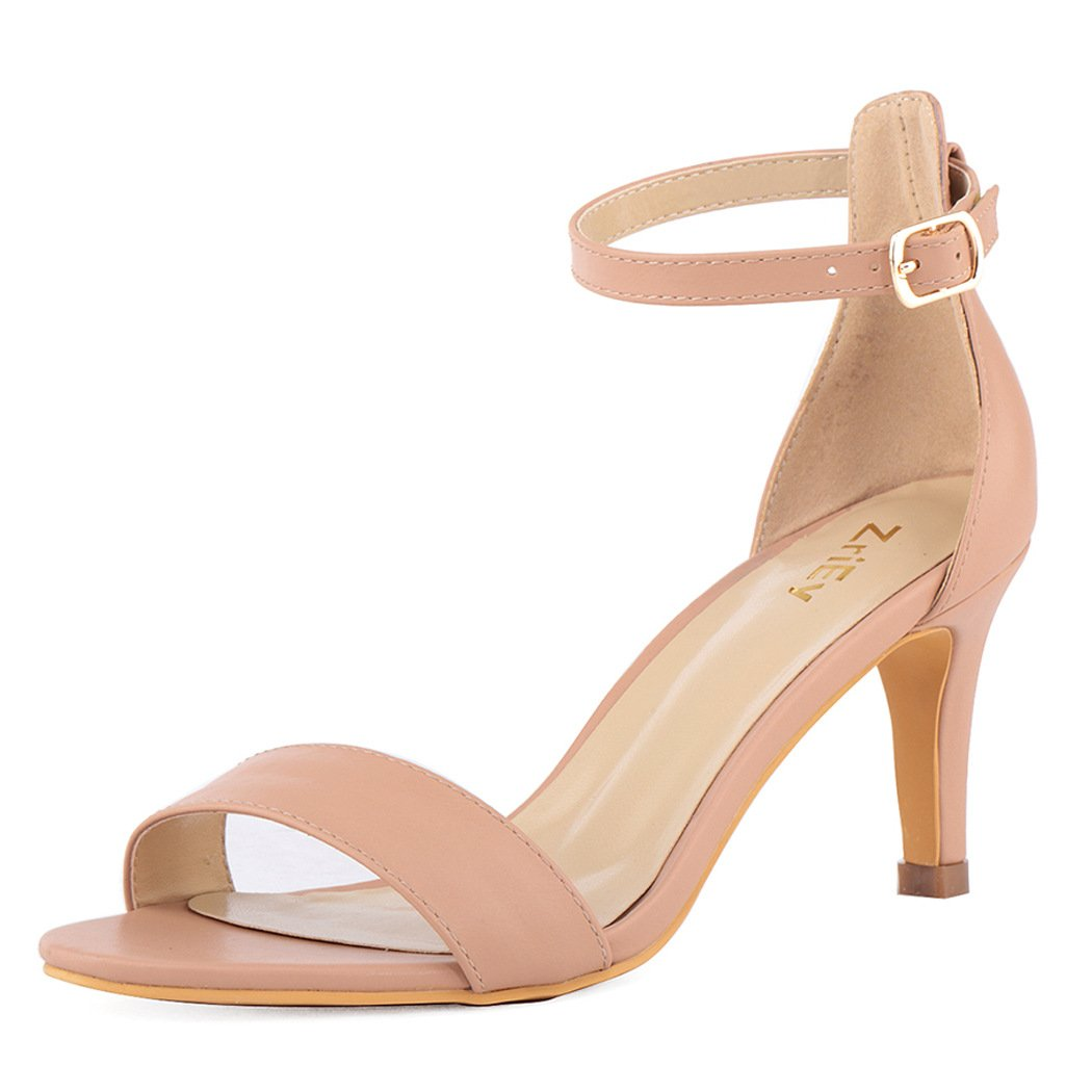 ZriEy Women's Heeled Sandals Ankle Strap High Heels 7CM Open Toe Mid Heel Sandals Bridal Party Shoes Nude Size 6.5