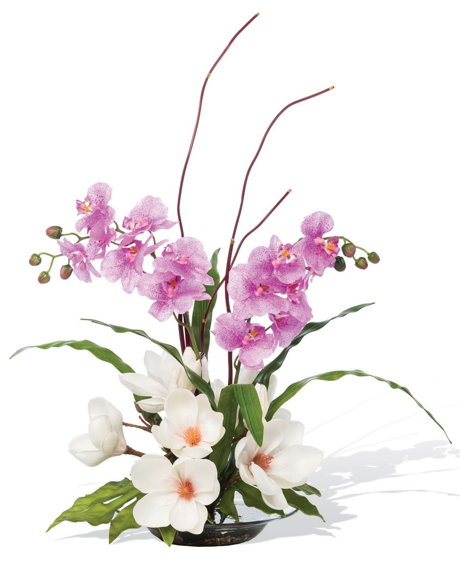 Magnolias & Orchids Silk Arrangement by Petals Silkflowers
