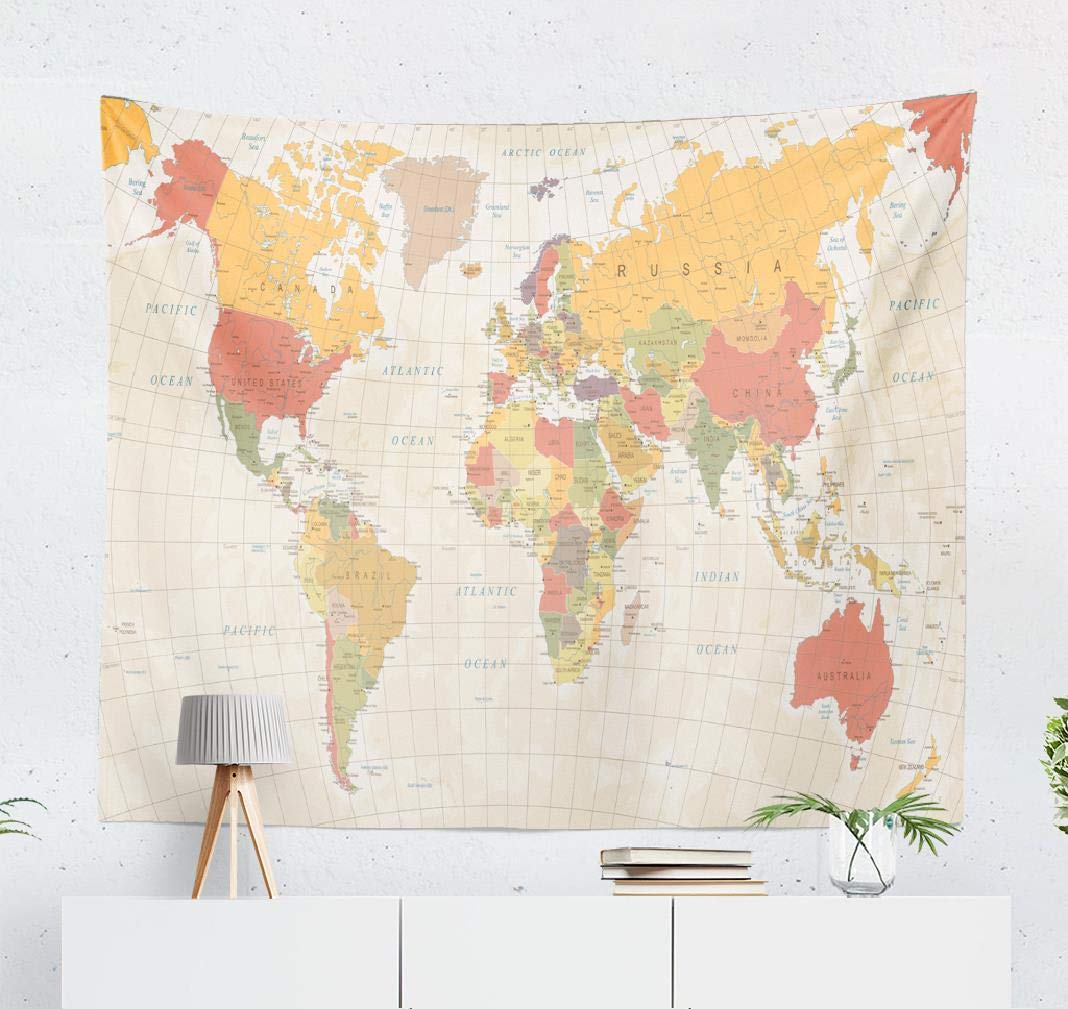 Alricc Map Vintage AsiaTapestry, Wall Hanging Tapestry Vintage World Map Asia Retro Europe Color Earth Wall Tapestry Dorm Home Decor Bedroom Living Room in 60X50