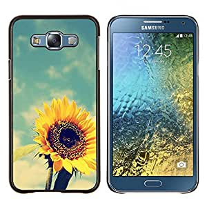 Girasol amarillo Vignette verano- Metal de aluminio y de plástico duro Caja del teléfono - Negro - Samsung Galaxy E7 / SM-E700