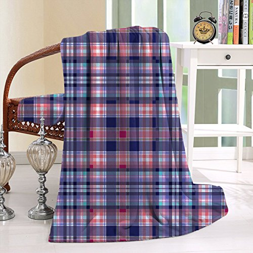 HAIXIA Throw Blanket Checkered Pink and Blue Colored with Intersecting Lines and Squares Navy Blue Pink