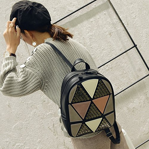 Travel Black JAGENIE Bag Rucksack School Preppy Style Geometric Women Patchwork Backpack Girls Pink 710wq4n7