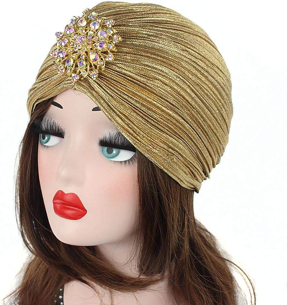 Bongles Acanalado Suave Turbante Con El Sombrero De La Aleaci/ón De La Decoraci/ón De Las Mujeres Shinning Dise/ño Chemo Caps C/áncer Sombreros Para Damas