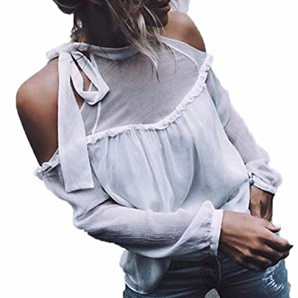 a2ff25c5e72b0e Amazon.com: Chiffon Blouse, Kimloog Women Cold Shoulder Halter Neck ...