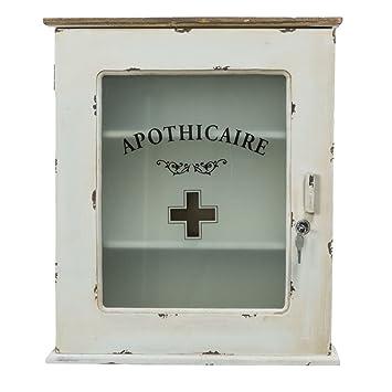Armoire à pharmacie avec inscription et fermant à clé blanc cassé ...