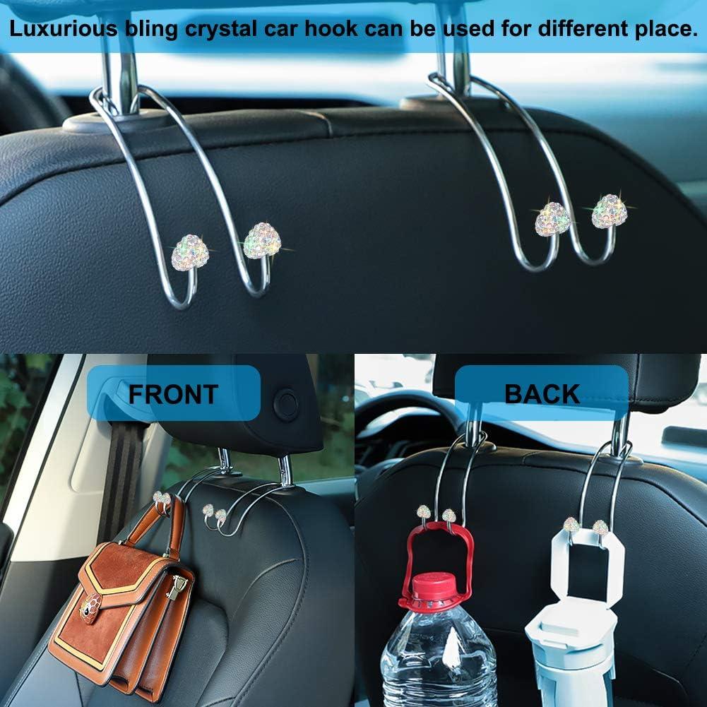 Otostar Handmade Bling Crystal Diamond Heart Shape Car Hooks 2 Pack Black Multifunctional Auto Back Seat Hook Strong and Durable Headrest Hangers Organizer