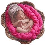 Oyedens Coperta fatta a mano per neonato, a trecce, per scatti fotografici in ceste