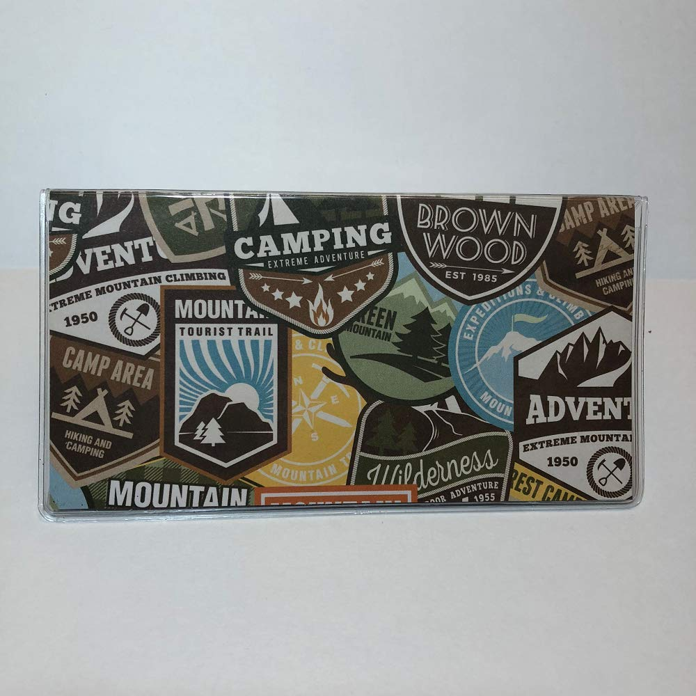 Clear Vinyl Checkbook cover Adventures in Camping Scrapbook style,Duplicate or Single Checks No wait Ready to Ship