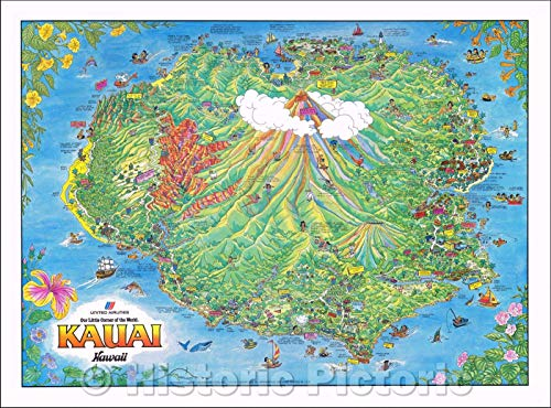 (Historic Map | Kauai Hawaii (United Airlines), 1980, James Olson v2 30in x 24in )