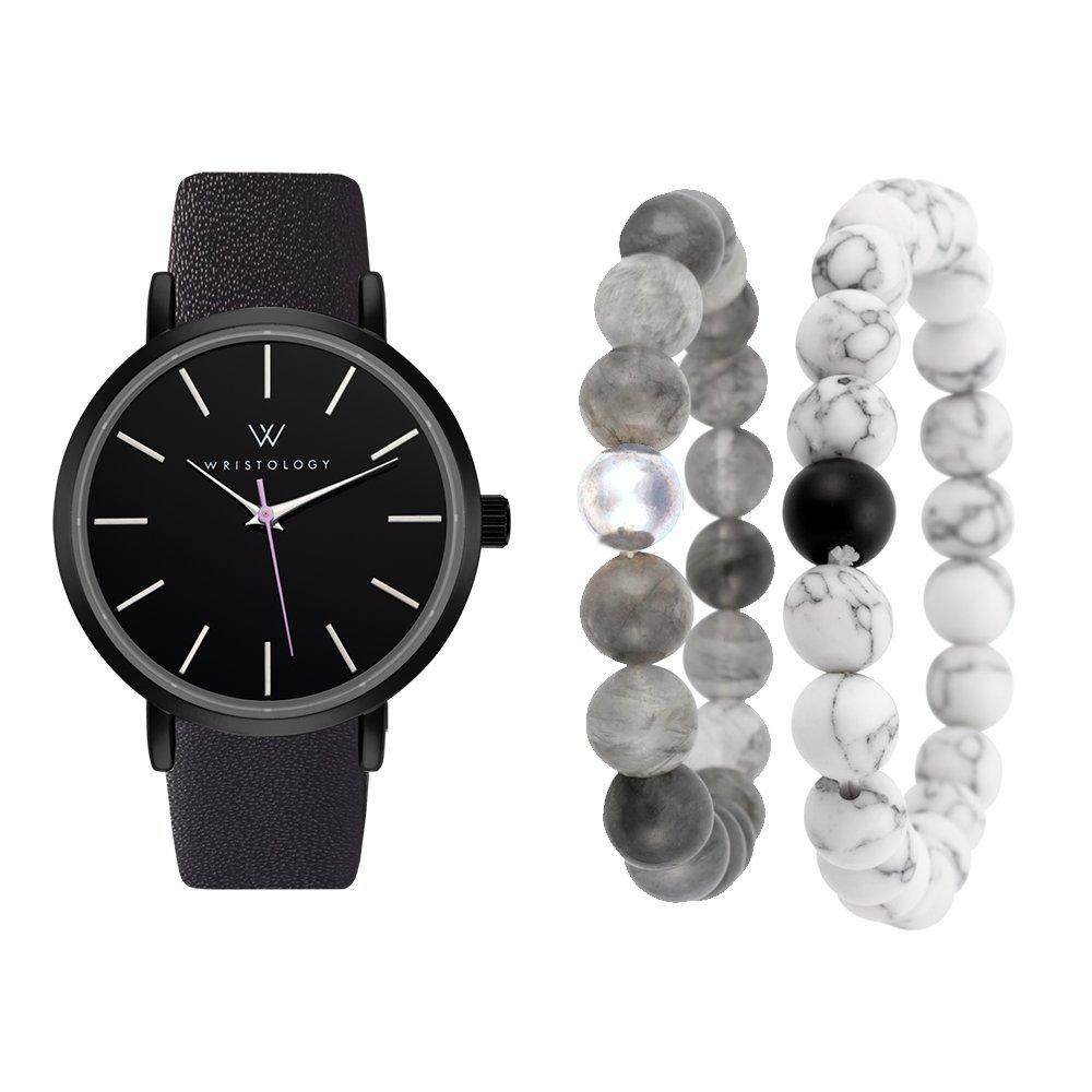 WRISTOLOGY Olivia Womens Black Watch Leather Band and Bracelet Gift Set