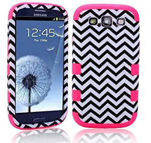 MagicSky Plastic + Silicone Tuff Chevron Pattern Hybrid Case for Samsung Galaxy III S3 i9300 - 1 Pack - Retail Packaging - Hot Pink