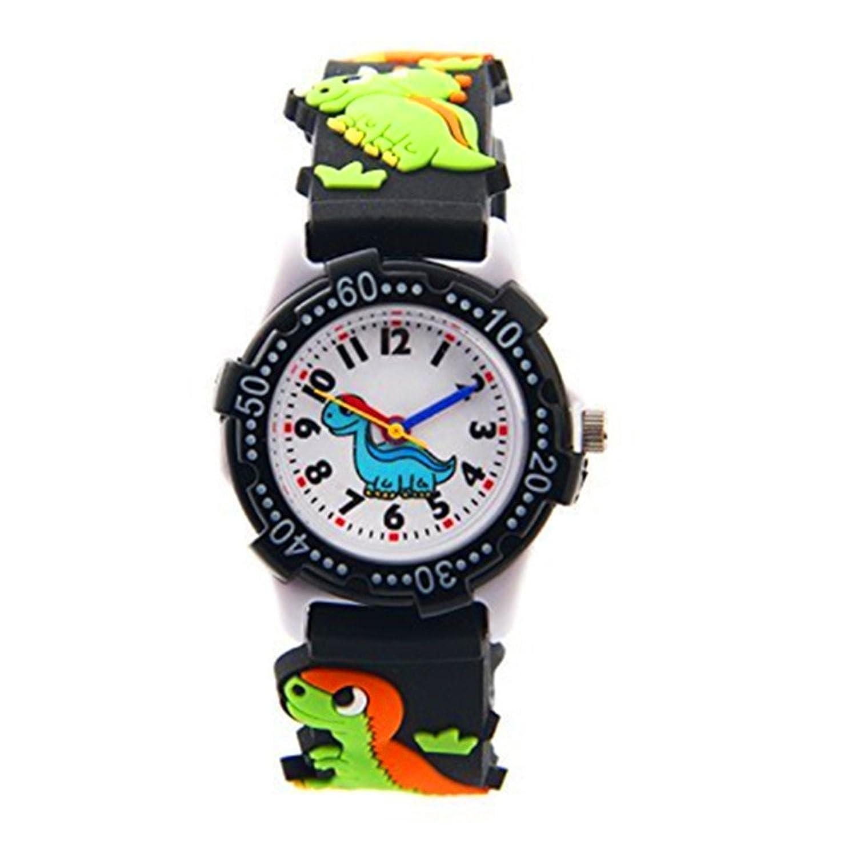 ELEOPTION かわいいイラスト入りクォーツ腕時計 3D シリコンバンド付き 時間を教えるのに最適 小さな女の子/男の子/お子様への贈り物に ブラック B072J33QHKDinosaur Black