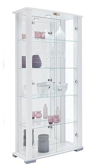 Home Stella 2 Glass Door Wide Display Cabinet White Amazon