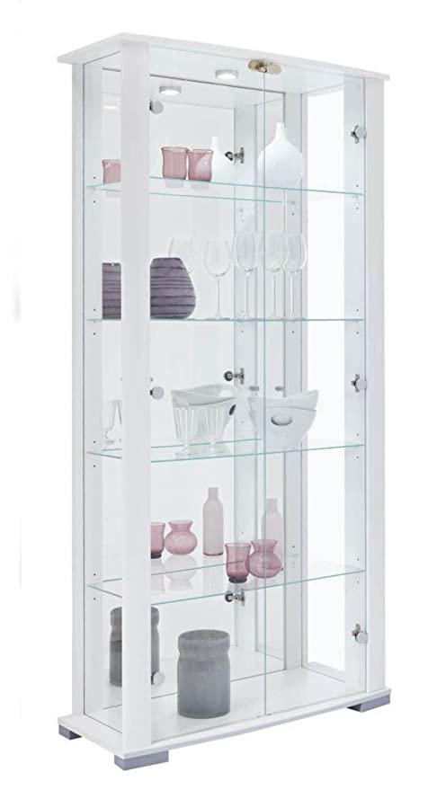 Home Stella 2 Glass Door Wide Display Cabinet White Amazon