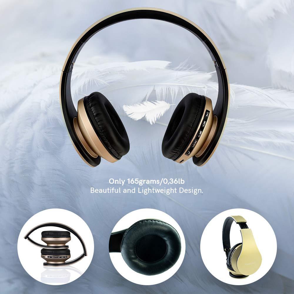 PC PowerLocus P1 Oro Auriculares Bluetooth inalambricos de Diadema Cascos Plegables Casco Bluetooth con Sonido Est/éreo con Conexi/ón a Bluetooth Inal/ámbrico y Audio Cable para Movil Tablet