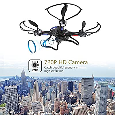 Drone with Camera, DEERC RC Quadcopter RTF 4 Channel 6-Axis Gyro Drone for Beginners with Altitude Hold Headless Mode One Key Start/Land Bonus Batteries from DEERC