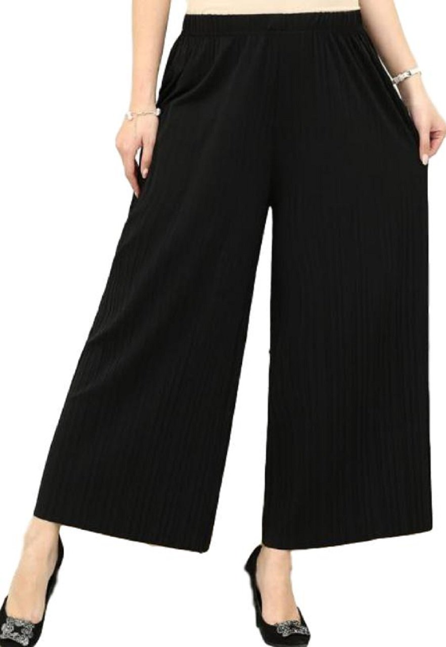 OtnJapan Women's Chiffon Pleated Skirt Gaucho Pants High Waist Wide (Black)