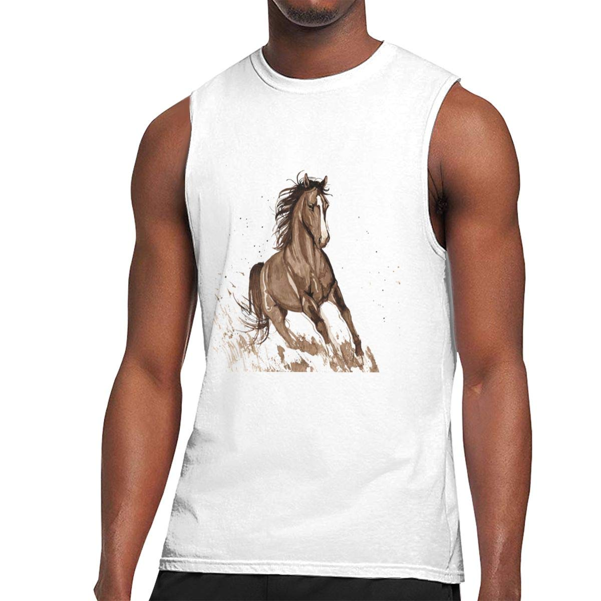 Seuriamin Vector Ink Horse Sports Sleeveless Muscle Short Sleeve T Shirts
