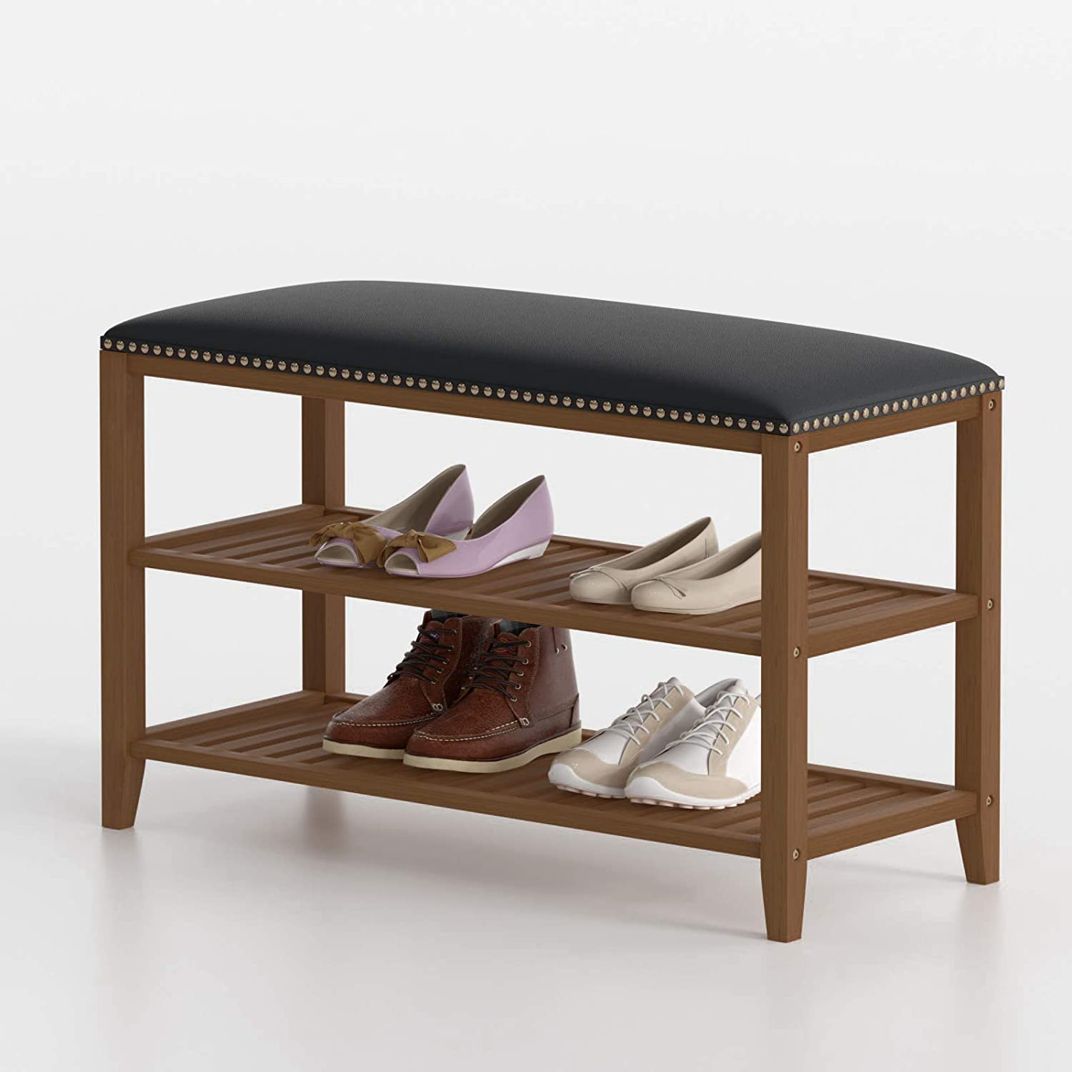 SeiriOne Shoe Rack Bench, 3-Tier Bamboo Shoe Storage Organizer with Leather Seat, Idea for Entryway, Living Room and Corridor, 31.5'' L x 11.41'' W x 20'' H