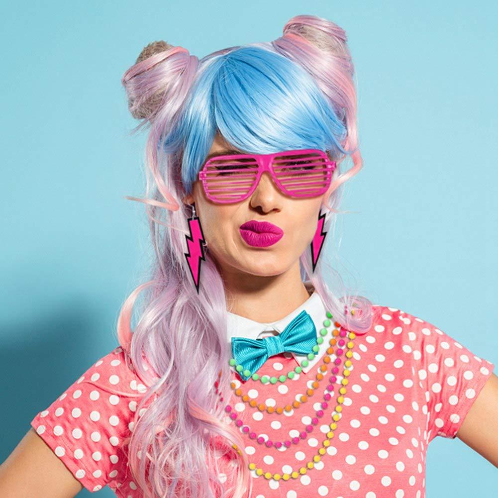 80s Costume Accessories Set Tutu Skirt Neon Necklace Scaldamuscoli Orecchini Fishnet Guanti Vetro per otturatore Accessorio per feste