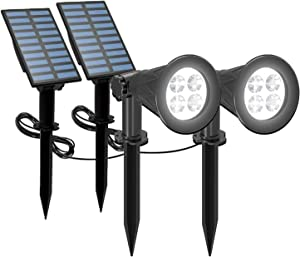 T-SUNUS Solar Powered LED Spot Light, 2 in 1 Installation Separated Panel and Light, IP65 Waterproof Outdoor Landscape Security Lighting for Patio,Yard,Garden,Driveway,Stair (2Pack White-6000K)