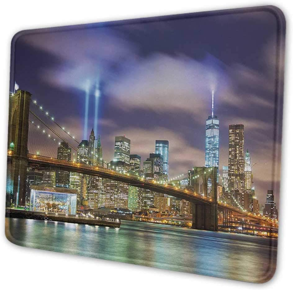 Landscape DIY Mouse Pad Magic Summer Sunset in The River with Northern Lights in The Sky Rocks Universe Mouse Pad for Women Glitter Multicolor 8x10x0.08 inches