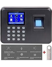 Aktivstar Máquina Fichar, Máquina de Asistencia Biométrica de Huella Dactilar con Sistema Española Pantalla LCD Memoria Flash de 8GB, Relojes para Fichar con Capacidad de 1000 Huellas Dactilares