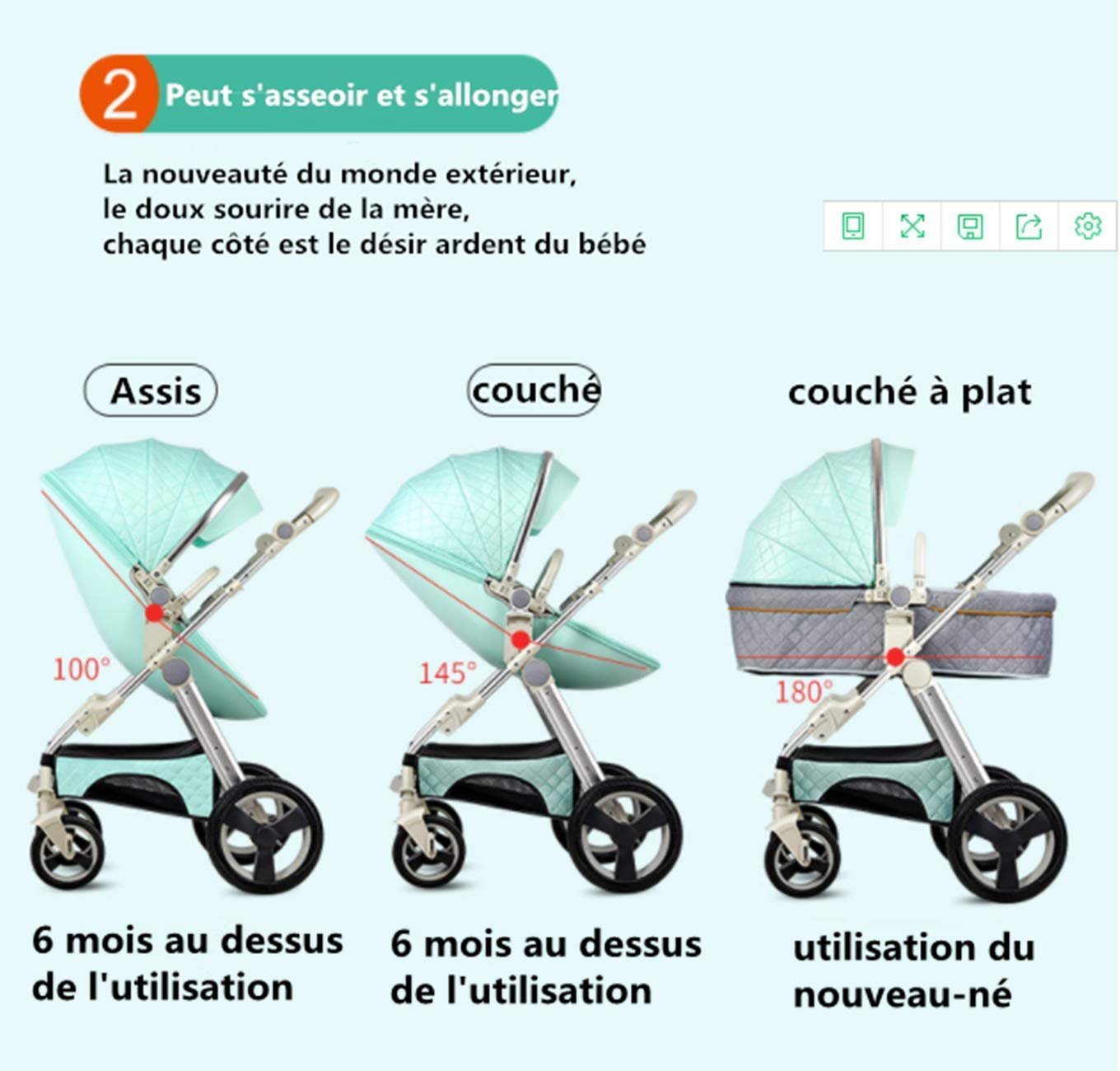 Color : C PLDDY Prams High Landscape Egg Shell Baby Stroller 3 in 1 can sit and Lie Down Two-Way Toddler Pushchair with Bassinet Combo for Babies prams 0-3 Years Old