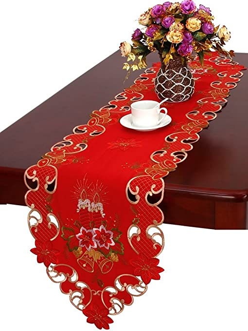 YY-one Table Runner for Farmhouse Style with Floral Pattern in Pink Christmas Decorative Table Runner for Home Kitchen Halloween Christmas 70 X 13