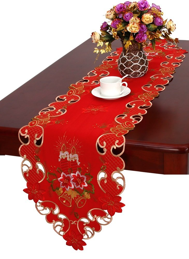 """Grelucgo Christmas Table Runner and Scarf Embroidered Bells Candles and Poinsettia 15"""" X 108"""""""