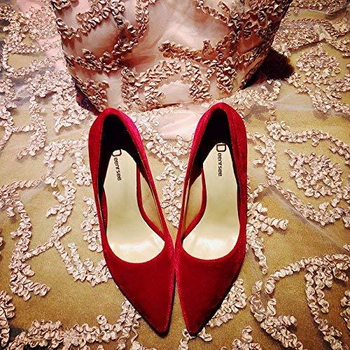 Gericht Schuhe wies High Heels weiblichen Samt fein mit einzelnen Schuhe weibliche rote Brautschuhe Hochzeit Schuhe weiblich, 35, rote haarige 8cm (Farbe   38, Größe   Rot)