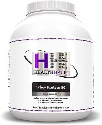Health Hack - Proteína de suero de leche 80 %, 2,5 kg, galletas y nata