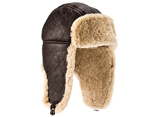 4eab2a2194e Genuine Sheepskin Leather Hand Crafted Mens Aviator   Trapper Flying Hat (L)