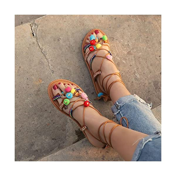 HOMEBABY – Sandali Donna estate bassi Bohemian con perline – Eleganti Donna bassi Moda Sandali da Sposa Classic piatti,modello con infradito Scarpe da danza da donna