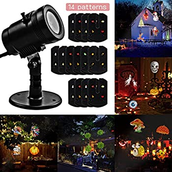 Christmas Decorations Projector lights Lychee outdoor Moving Rotating Projector LED Spotlights Waterproof projection Led lights w/14pcs Switchable pattern lens for Wedding Halloween Xmas Decoration.
