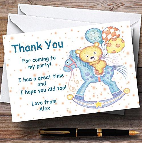 Caballo balancín bebé infantil personalizado fiesta tarjetas de agradecimiento