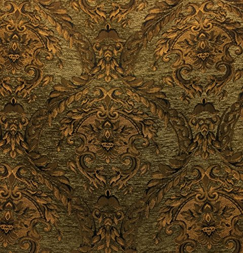 DAMASK TAPESTRY CHENILLE FABRIC - UPHOLSTERY FABRIC, OLIVE GREEN / GOLD - 60