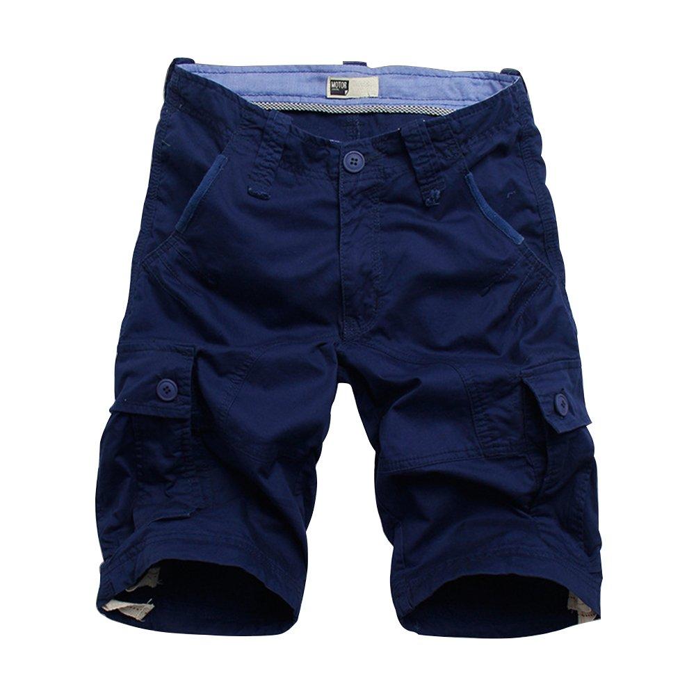 Flora Florida Men's Cargo Shorts Cotton Pocket Loose Fit Short Pants (36/Waist 36'', DarkBlue)