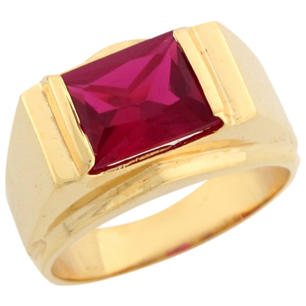 10k Real Yellow Gold Simulated Red Garnet January Birthstone Mens Ring