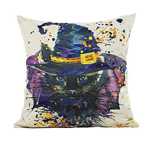 ME COO Necromancer hat OWL Halloween cat pumpkin spider graphic printing hug pillowcase living room room car decorative cushion covers pillow covers 18 x 18Inches 1pcs