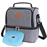 Lifewit Insulated Lunch Box Lunch Bag for Adults/Men/Women/Kids, Water-Resistant Leakproof Soft Cooler Bento Bag for Work/School/Meal Prep, Dual Compartment, 7L, Grey [ with Blue Ice Pack ]