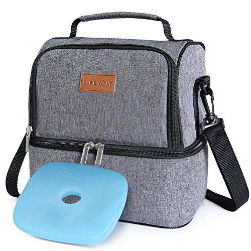 Lifewit Insulated Lunch Box Lunch Bag for Adults/Men/Women/Kids, Water-Resistant Leakproof Soft Cooler Bento Bag for Work/School/Meal Prep, Dual Compartment, 7L, Grey [ with Blue Ice Pack ] by Lifewit