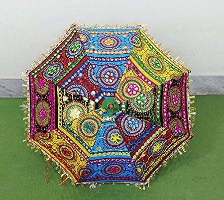 Indian decorativo hecho a mano Hippie Gypsy Decor algodón espejo trabajo bordado protección UV paraguas, sombrilla de Boho Bohemian boda sombrilla de playa paraguas, paraguas de sol decoración del hogar Playa paraguas:
