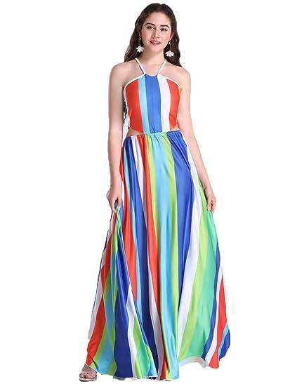 Amazon.com: Lovelychica Dress for Women Plus Size Stripes Maxi ...