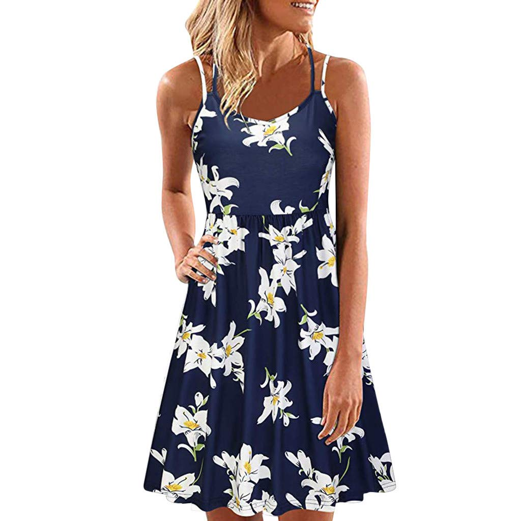 Vintage Boho Women Summer Sleeveless Spaghetti Straps Dress Beach Printed Short Mini Dress(Navy,XXL)