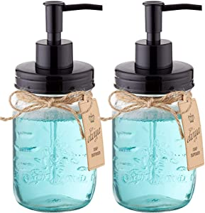 Elwiya Mason Jar Soap Dispenser - 16 Ounce Glass Mason Jar with Plastic Pump and Lid - Rust Proof - Rustic Bathroom Accessories &Kitchen Home Decor - 2 Pack